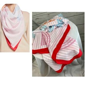 BCBG stripped scarf with color block trim scarf